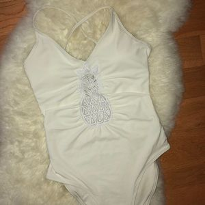 white pineapple one piece bathing suit